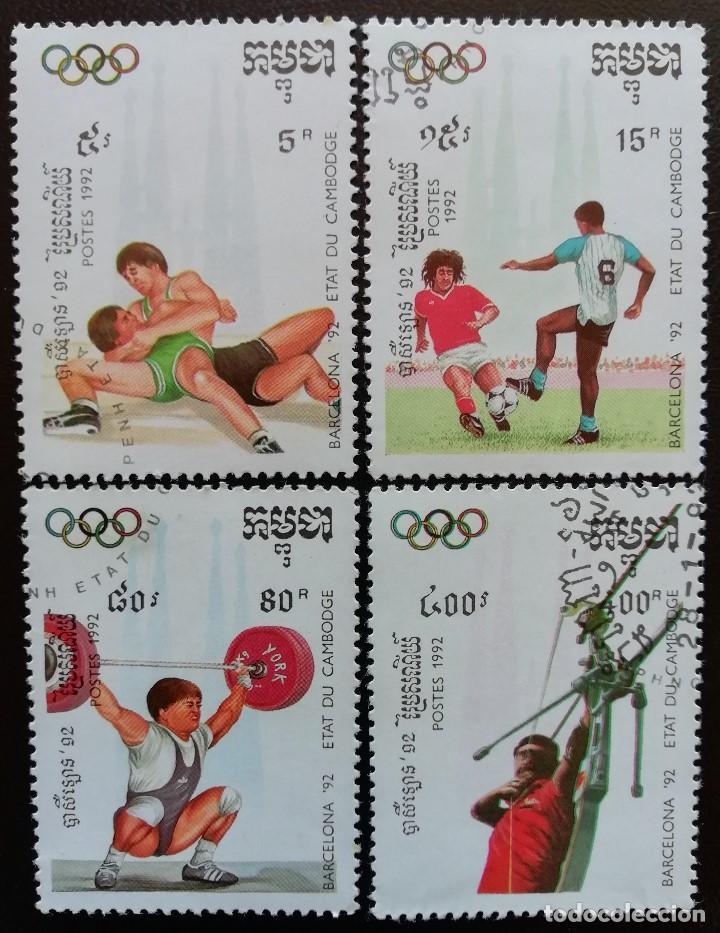 1992. DEPORTES. CAMBOYA. 1043 / 1047. JUEGOS OLÍMPICOS BARCELONA. USADO. (Sellos - Extranjero - Asia - Camboya)