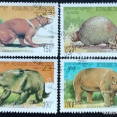 Sellos: 1994. FAUNA. CAMBOYA. 1192 / 1196. ANIMALES PREHISTÓRICOS. SERIE CORTA. USADO.. Lote 168798632