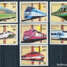 Sellos: CAMBOYA - KAMPUCHEA 1989 IVERT 864/70 *** FERROCARRILES DE ALTA VELOCIDAD - LOCOMOTORAS - TRENES. Lote 194392988