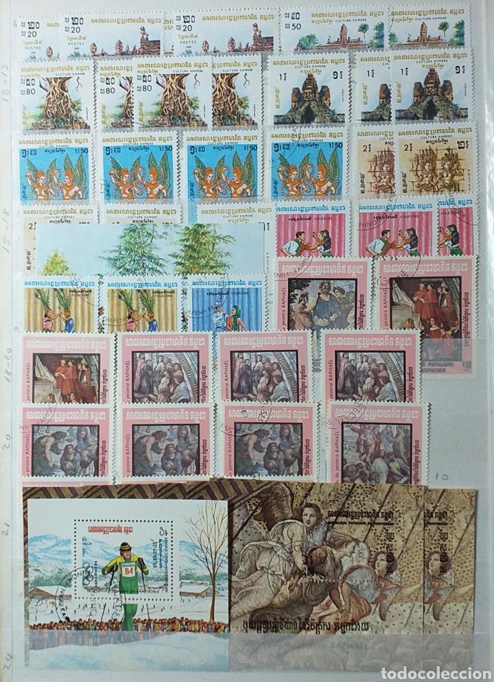 Sellos: Colección de sellos de Camboya bastante completa en álbum de 16 páginas - Foto 2 - 200853081
