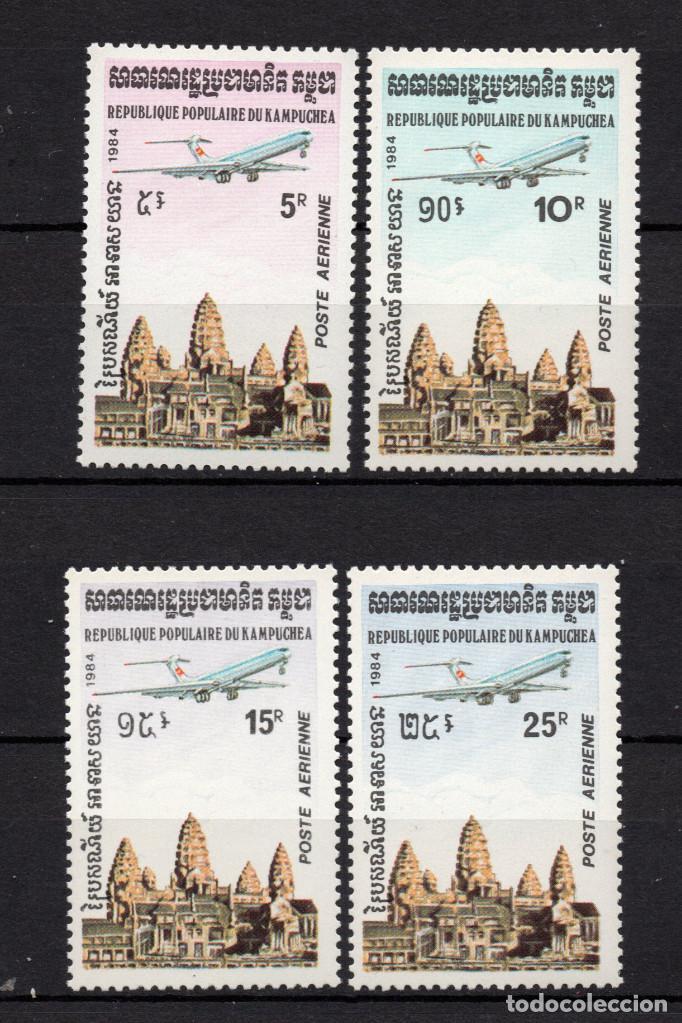 KAMPUCHEA AEREO 32/35** - AÑO 1984 - AVIONES - TEMPLO DE ANGKOR VAT (Sellos - Extranjero - Asia - Camboya)