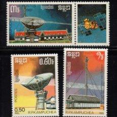 Sellos: KAMPUCHEA 772/74** - AÑO 1987 - TELECOMUNICACIONES. Lote 212379431
