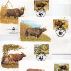 Sellos: CAMBOYA SERIE SOBRES PRIMER DIA 1986 MICHEL 823 A 826 WWF. Lote 215508965