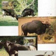 Sellos: CAMBOYA SERIE TARJETAS MAXIMA PRIMER DIA 1986 MICHEL 823 A 826 WWF. Lote 215579903