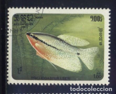 S-5793- CAMBOYA. R.P. KAMPUCHEA. PECES (Sellos - Extranjero - Asia - Camboya)