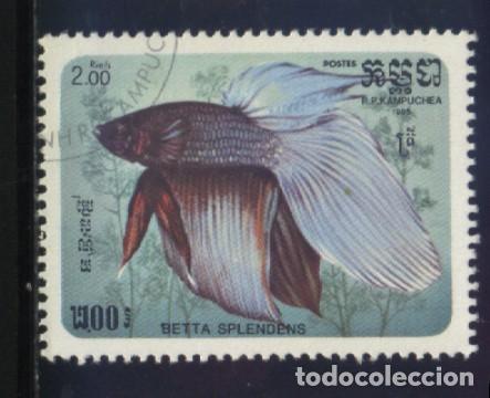 S-5794- CAMBOYA. R.P. KAMPUCHEA. PECES (Sellos - Extranjero - Asia - Camboya)
