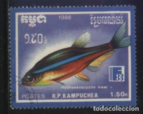 S-5797- CAMBOYA. R.P. KAMPUCHEA. PECES (Sellos - Extranjero - Asia - Camboya)