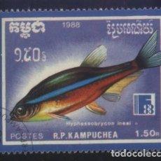 Sellos: S-5797- CAMBOYA. R.P. KAMPUCHEA. PECES. Lote 220658538