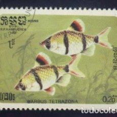 Sellos: S-5798- CAMBOYA. R.P. KAMPUCHEA. PECES. Lote 220658561