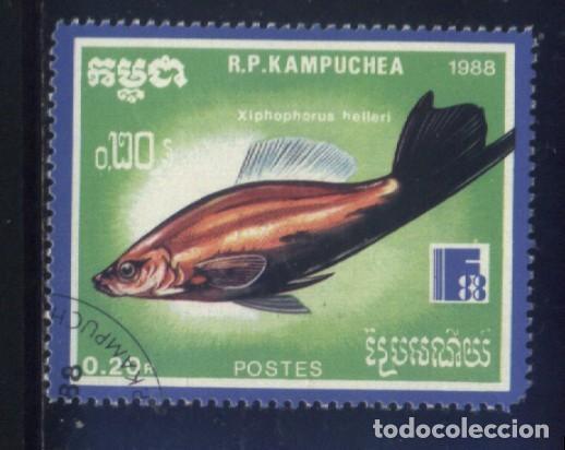 S-5831- CAMBOYA. R.P. KAMPUCHEA. PECES. (Sellos - Extranjero - Asia - Camboya)