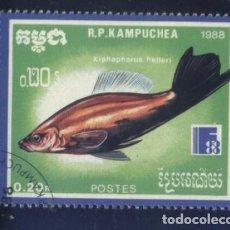Sellos: S-5831- CAMBOYA. R.P. KAMPUCHEA. PECES.. Lote 220673658