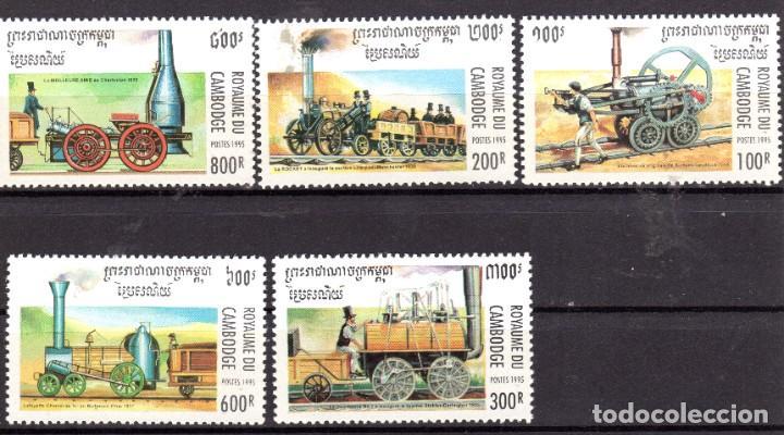 CAMBOYA/1995/MNH/SC#1446-50/ VIEJA LOCOMOTORA A VAPOR / TRENES (Sellos - Extranjero - Asia - Camboya)