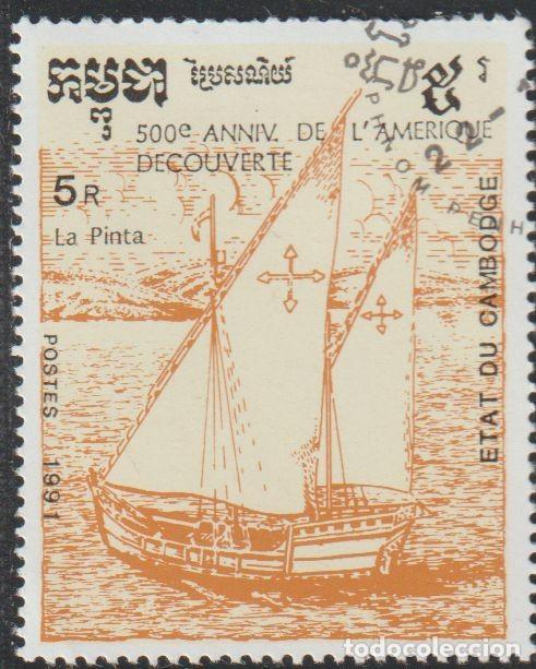 "CAMBOYA 1991 SCOTT 1167 SELLO * ANIV. DESCUBRIMIENTO DE AMERICA BARCOS CARABELA ""LA PINTA"" MI. 1245 (Sellos - Extranjero - Asia - Camboya)"