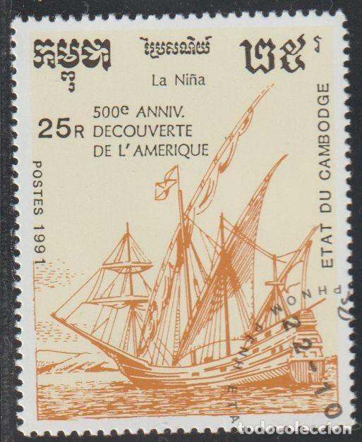 "CAMBOYA 1991 SCOTT 1168 SELLO * ANIV. DESCUBRIMIENTO DE AMERICA BARCOS CARABELA ""LA NIÑA"" MI. 1246 (Sellos - Extranjero - Asia - Camboya)"