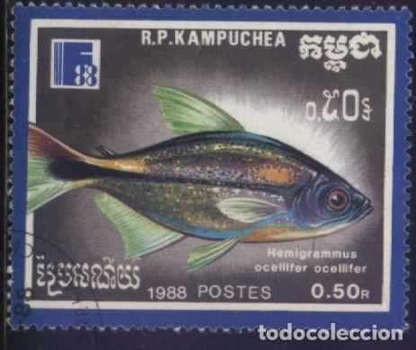 S-6055- CAMBOYA. R.P. KAMPUCHEA. PECES. (Sellos - Extranjero - Asia - Camboya)