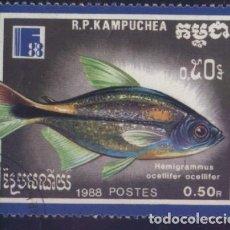 Sellos: S-6055- CAMBOYA. R.P. KAMPUCHEA. PECES.. Lote 223714866