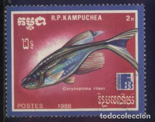 S-6056- CAMBOYA. R.P. KAMPUCHEA. PECES. (Sellos - Extranjero - Asia - Camboya)