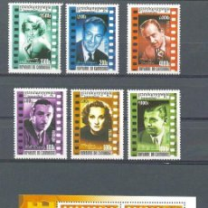 Sellos: CAMBOYA 2001 - CINE - CINEMA - YVERT 1813/1818** + BLOCK 179**. Lote 243989240