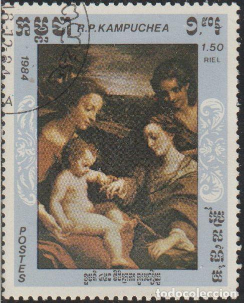 CAMBOYA 1984 SCOTT 544 SELLO * ARTE PINTURA ANTONIO ALLEGRI CORREGGIO BODA DE SANTA CATALINA MI 624 (Sellos - Extranjero - Asia - Camboya)