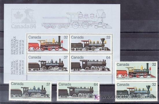CANADA 895/8, HB 4 SIN CHARNELA, FF.CC., LOCOMOTORAS CANADIENSE, CANADA 84 EXP. FIL. NACIONAL (Sellos - Extranjero - América - Canadá)