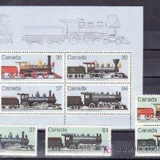 Sellos: CANADA 895/8, HB 4 SIN CHARNELA, FF.CC., LOCOMOTORAS CANADIENSE, CANADA 84 EXP. FIL. NACIONAL. Lote 134498418