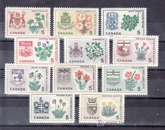 CANADA 344/53 SIN CHARNELA, ESCUDO, FLORES, (Sellos - Extranjero - América - Canadá)