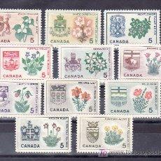Sellos: CANADA 344/53 SIN CHARNELA, ESCUDO, FLORES, . Lote 9096147