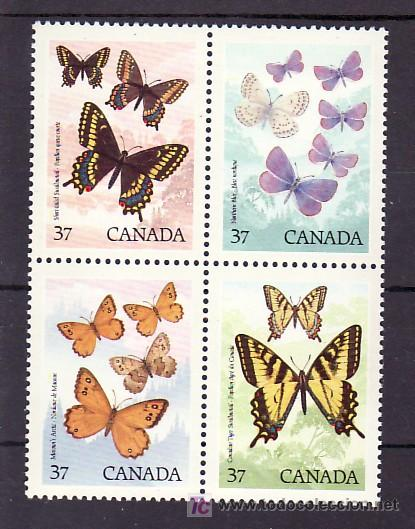 CANADA 1052/5 SIN CHARNELA, FAUNA CANADIENSE, MARIPOSAS, (Sellos - Extranjero - América - Canadá)
