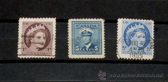 3 SELLOS CANADA - USADOS (Sellos - Extranjero - América - Canadá)