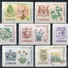 Sellos: CANADÁ AÑO 1964 - 1966 YV 342/54*** BLASONES - ESCUDOS PROVINCIALES - HERÁLDICA - FLORA - FLORES. Lote 30589717