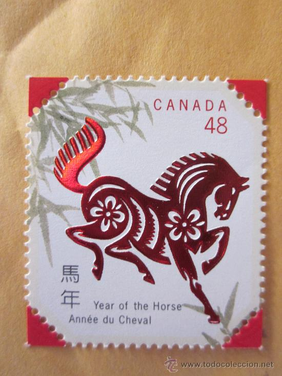 SERIE SELLOS CANADA AÑO DEL CABALLO.FACIAL 0,48.AÑO 2002.NUEVO (Sellos - Extranjero - América - Canadá)