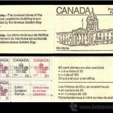 Sellos: CANADA- CARNET CON BLOQUE DE SELLOS- COLECCION DE CIUDADES PARLAMENTO MANITOBA. Lote 35414565