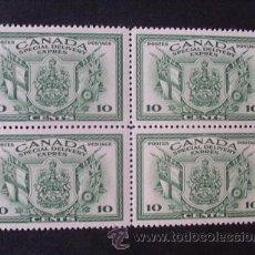 Sellos: CANADA,1942,SCOTT E10**,YVERT 10**,CORREO URGENTE,BLOQUE DE 4,NUEVO CON GOMA Y SIN FIJASELLOS. Lote 38404644