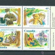 Sellos: WINNIE L OURSON, DE CANADA, AÑO 1996, Nº 1496/99, NUEVOS** S/F , CAT. 5,00 EUROS. Lote 39688050