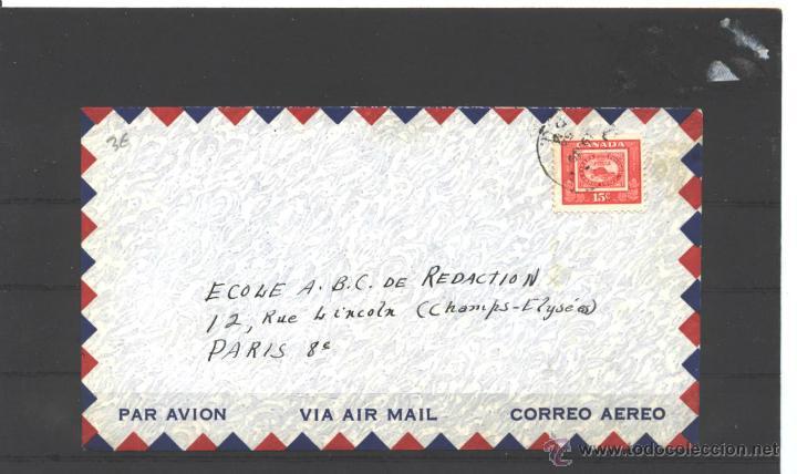 CANADA 1954 - SOBRE CIRCULADO Y ABIERTO - ST. JEAN A PARIS (Sellos - Extranjero - América - Canadá)