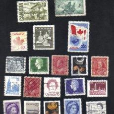 Sellos: LOTE 20 SELLOS USADOS, DIFERENTES, CANADA.. Lote 9837967