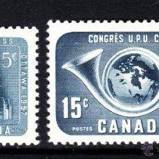 Sellos: CANADÁ 298/99** - AÑO 1957 - CONGRESO DE LA UNION POSTAL UNIVERSAL, OTTAWA. Lote 50939327