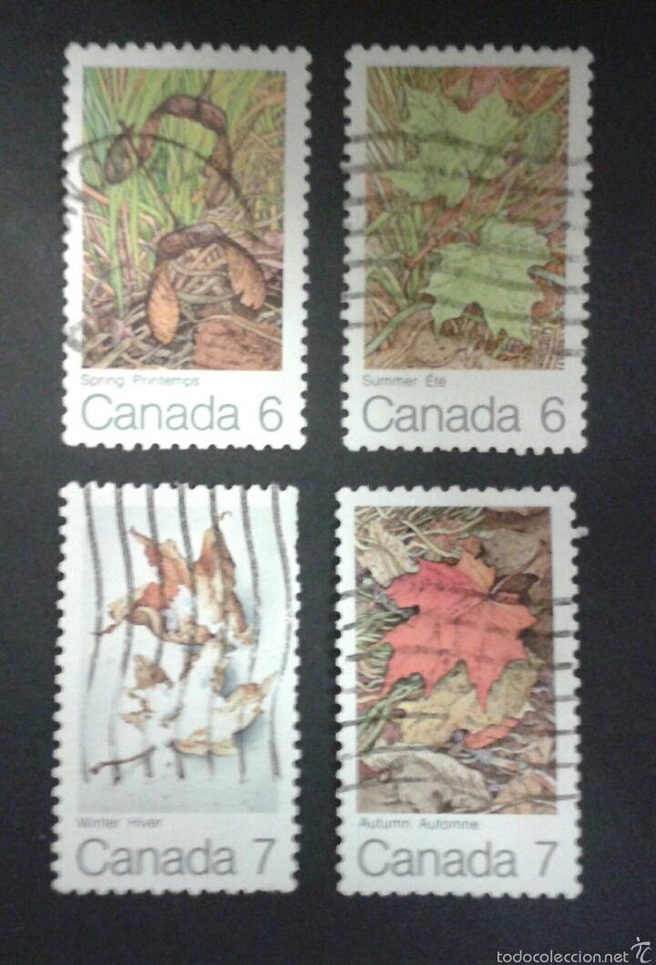 SELLOS DE CANADÁ. FLORA. YVERT 456/58A. SERIE COMPLETA USADA. (Sellos - Extranjero - América - Canadá)