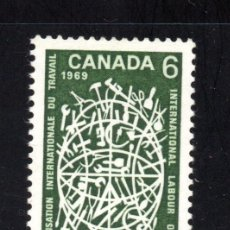 Sellos: CANADÁ 414** - AÑO 1969 - 50º ANIVERSARIO DE LA ORGANIZACIÓN INTERNACIONAL DEL TRABAJO. Lote 67793697