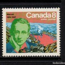 Sellos: CANADA 554** - AÑO 1974 - CENTENARIO DEL NACIMIENTO DE GUGLIELMO MARCONI - PREMIO NOBEL FISICA 1909. Lote 72944299