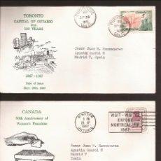 Sellos: SOBRE PRIMER DIA CANADA (3 SOBRES) 1967. Lote 74265135