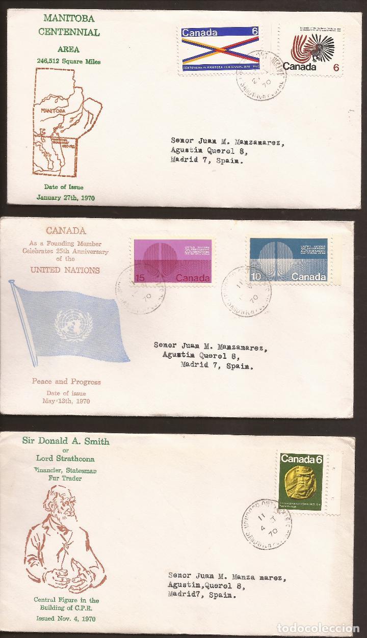 SOBRE PRIMER DIA CANADA (3 SOBRES) AÑO 1970 (Sellos - Extranjero - América - Canadá)