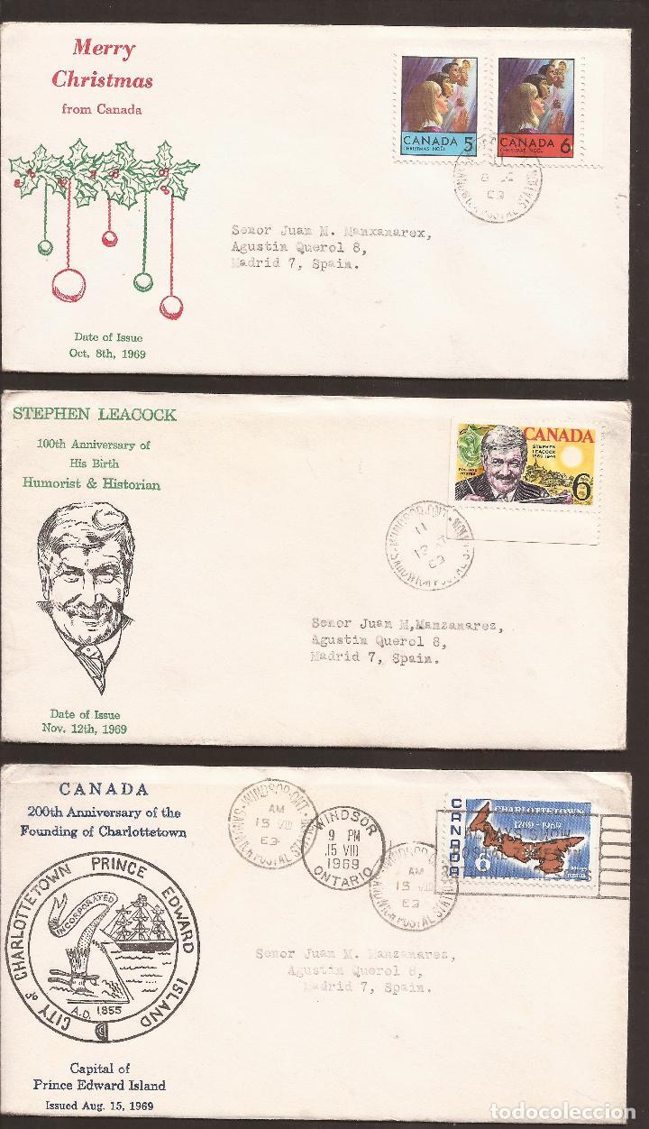 SOBRE PRIMER DIA CANADA (3 SOBRES) AÑO 1969 (Sellos - Extranjero - América - Canadá)