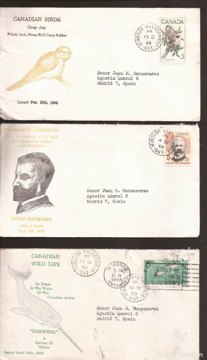 SOBRE PRIMER DIA CANADA (3 SOBRES) AÑO 1968 (Sellos - Extranjero - América - Canadá)