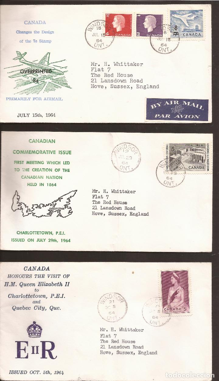 SOBRE PRIMER DIA CANADA (3 SOBRES) AÑO 1964 (Sellos - Extranjero - América - Canadá)