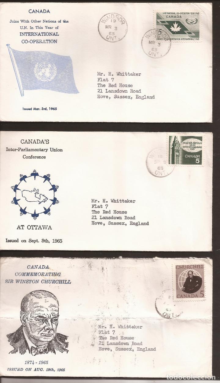 SOBRE PRIMER DIA CANADA (3 SOBRES) AÑO 1965 (Sellos - Extranjero - América - Canadá)