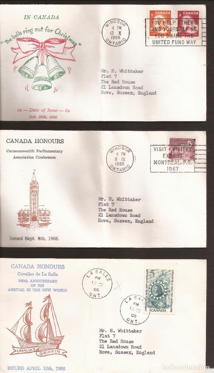 SOBRE PRIMER DIA CANADA (3 SOBRES) AÑO 1966 (Sellos - Extranjero - América - Canadá)