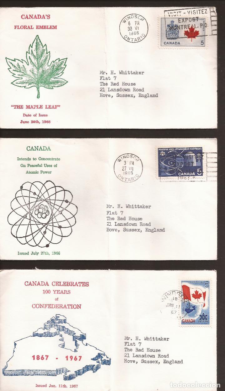 SOBRE PRIMER DIA CANADA (3 SOBRES) AÑO 1966 Y 67 (Sellos - Extranjero - América - Canadá)