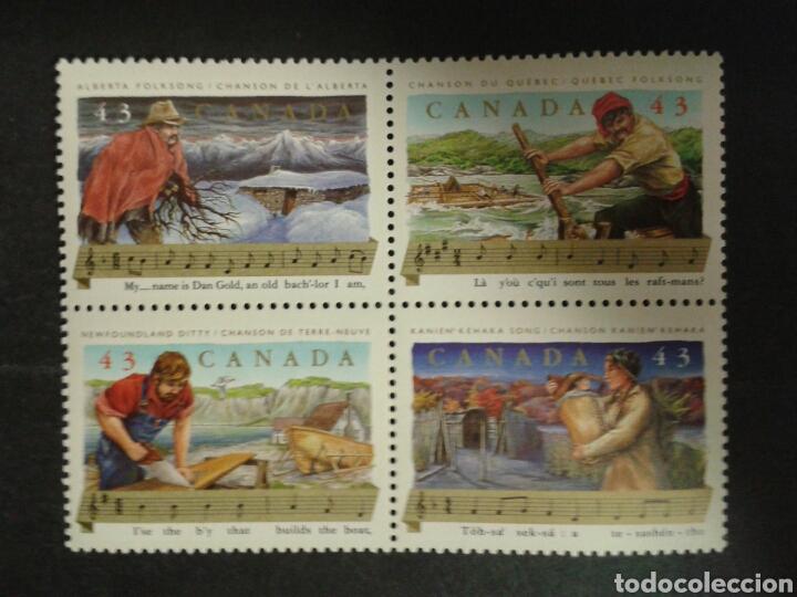 CANADÁ. YVERT 1334/7. SERIE COMPLETA SIN CHARNELA. CANCIONES POPULARES. MÚSICA (Sellos - Extranjero - América - Canadá)