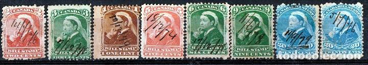 CANADA 1868. BILL STAMP. 8 VALORES DIFERENTES . * MH (18-96) (Sellos - Extranjero - América - Canadá)